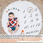HAN-MM-Baby-Monthly-Milestone-Blanket-with-Wooden-Circle-Ring-Reversible-Double-Layer-Pom-Pom-Ball-Thick-Flannel-Round-Rug-for-Boy-Girl-Extra-Soft-Baby-Photography-PropsNewborn