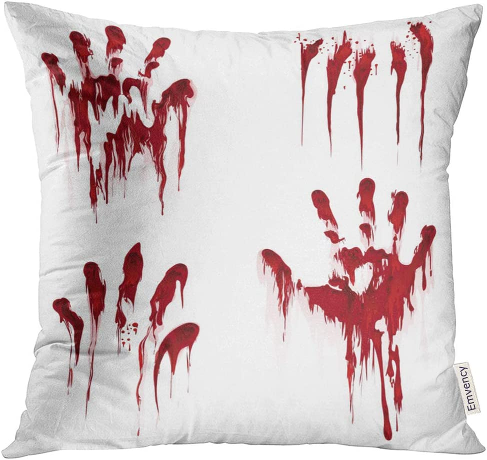 Amazon Com Emvency Throw Pillow Cover Red Death Bloody Hand White Horror Scary Blood Dirty Handprint And Fingerprint Bleed Decorative Pillow Case Home Decor Square 16x16 Inches Pillowcase Home Kitchen