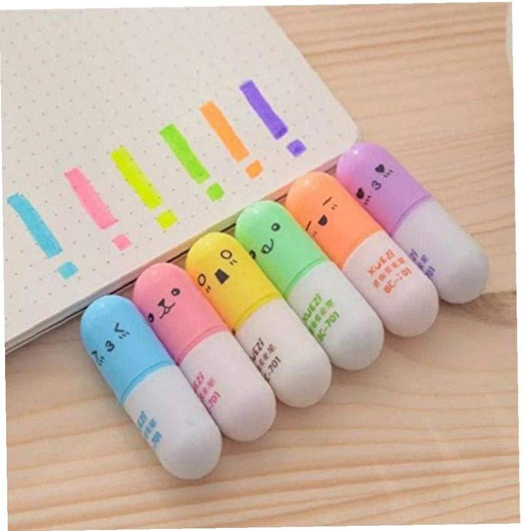 Oulensy 6 Pezzi//Set Mini Penne evidenziatore a Forma di Pillola per Scrivere Faccia Carina Graffiti Pennarello cancelleria Coreana Scuola Forniture per Ufficio