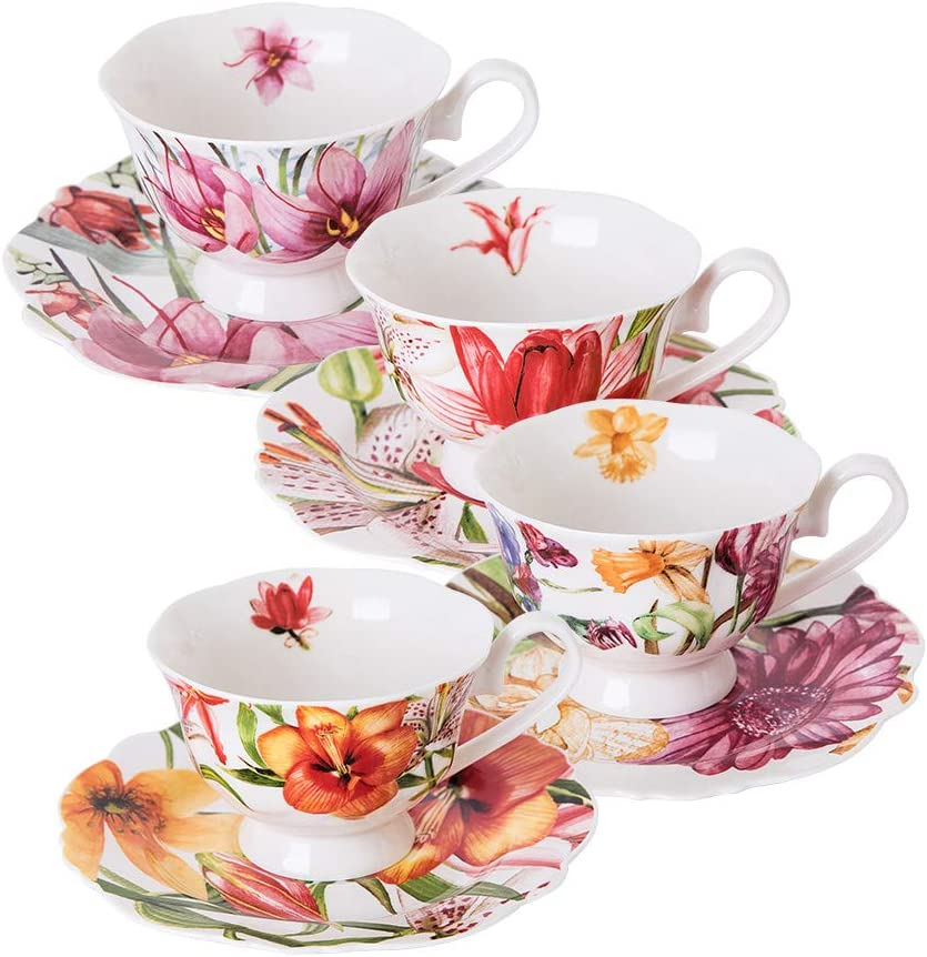 Eileen's Reserve teacup and saucer set, new bone china tea party gift, set of 4 (Modern)