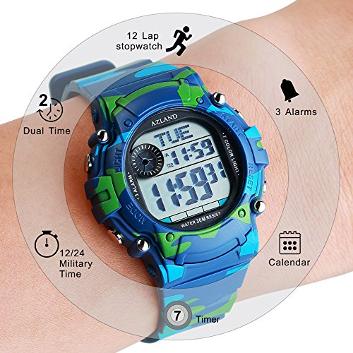 AZLAND 7 Colors Flashing, Multiple Alarms Reminder Sports Kids Wristwatch Waterproof Boys Girls Digital Watches Camo, for Age 4-12 by AZLAND (Image #3)