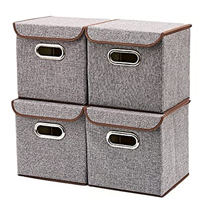 EZOWare Storage Bins [4-Pack] Linen Fabric Foldable Basket Cubes Organizer Boxes Containers Drawers Lid - Gray Office Nursery Bedroom Shelf