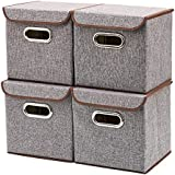 EZOWare Storage Bins [4-Pack] Linen Fabric Foldable Basket Cubes Organizer Boxes Containers Drawers with Lid - Gray for Office Nursery Bedroom Shelf