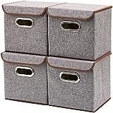 Storage Bins [4-Pack] EZOWare Linen Fabric Foldable...
