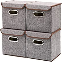 Storage Bins [4-Pack] EZOWare Linen Fabric Foldable Basket Cubes Organizer Boxes Containers Drawers with Lid - Gray For Office Nursery Bedroom Shelf