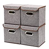 Storage Bins [4-Pack] EZOWare Linen Fabric Foldable Basket Cubes Organizer Boxes Containers Drawers with Lid – Gray For Office Nursery Bedroom Shelf