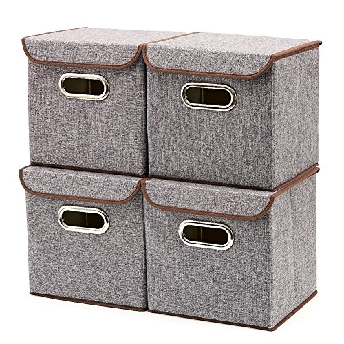 EZOWare Storage Bins [4-Pack] Linen Fabric Foldable Basket Cubes Organizer Boxes Containers with Lid - Gray for Office Nursery Shelves (Square Covered Buckle)