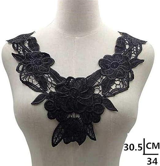 Cuello de tela de encaje blanco de algodón 3D para bordado, tela de encaje y guía, para coser el vestido, color ...