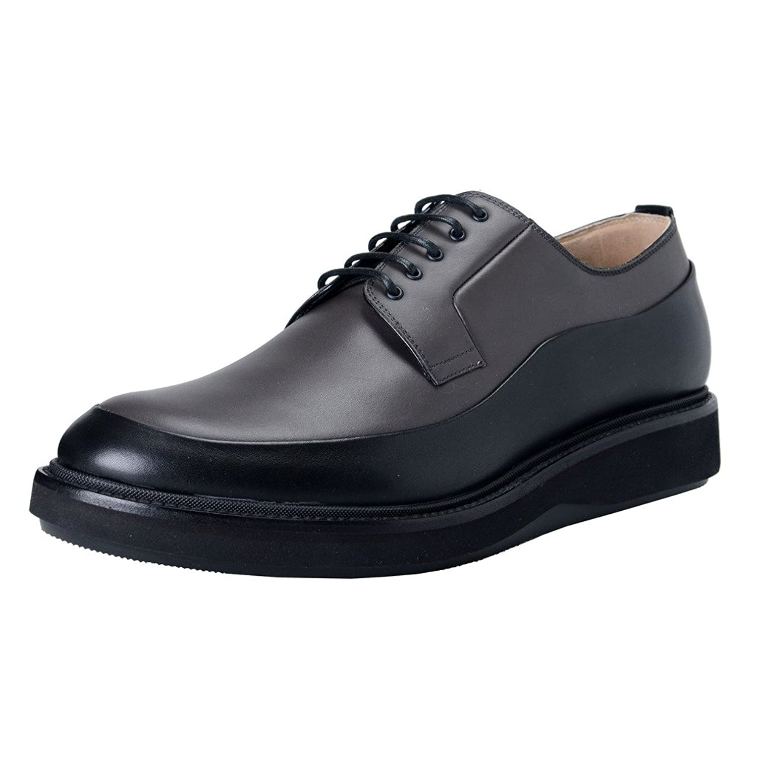 Dior Men's Gray Black Leather Derby Oxfords Shoes