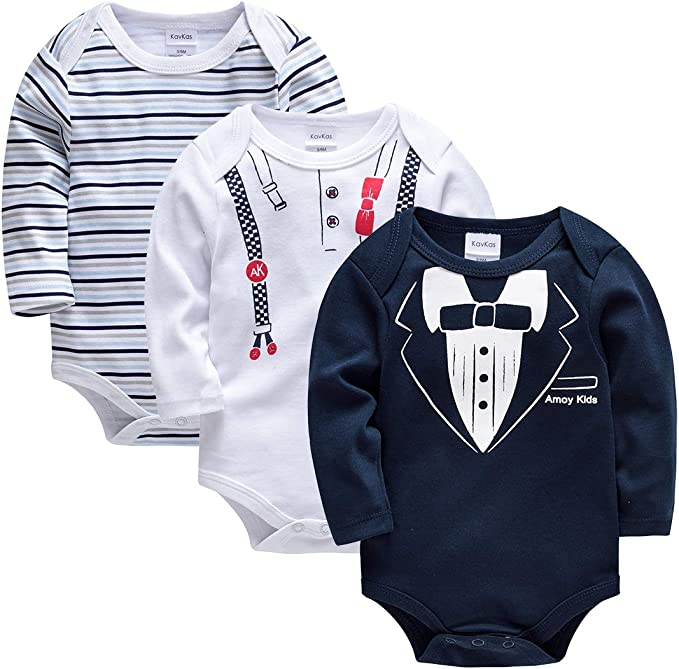 kavkas Body de Manga Larga para bebé algodón Suave, 3 Unidades ...
