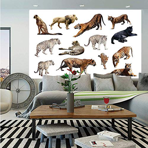 (Safari Decor Wall Mural,Collection of Tigersand Other Big Wild Cats Predatory Feline Zoo Lying Standing Background,Self-Adhesive Large Wallpaper for Home Decor 83x120 inches,)