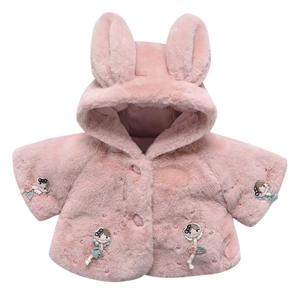 SCSAlgin Cotton Coat Girls, Kids Fur Fleece Lapel Coat Winter Warm Jacket Baby Girls (Pink, 6M)