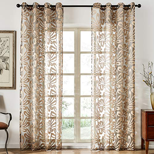 Top Finel Floral Sheer Curtains 84 Inches Long for Living Room Bedroom Grommet Voile Window Curtains, 2 Panels, Brown