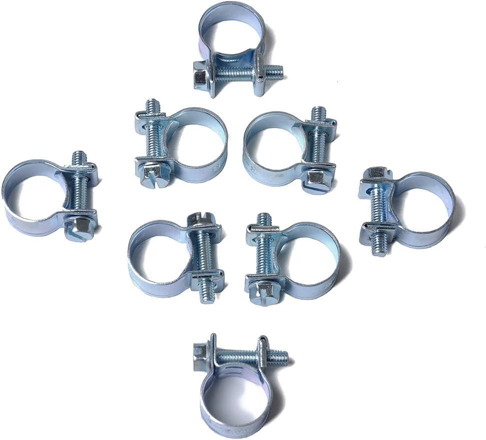 Set 8-10MM Schlauchschelle Rundrohrschelle Luft-Wasser-Schlauch-Clips Wasserrohr Fasteners Kraftstoff Schlauchschellen 10PCS