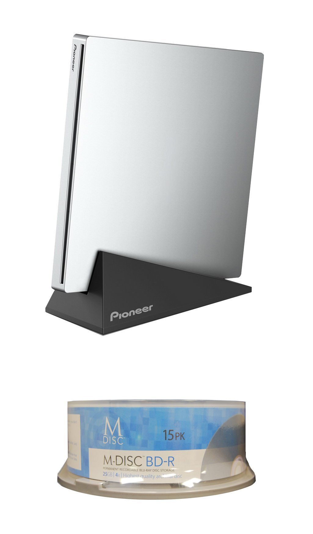 Pioneer 6X BDR-XU03 Slim Portable Blu-ray Burner Bundle with 15 Pack M-DISC BD - Supports USB 3.0, BDXL, BD, DVD, and CD Media (Silver, Retail Box)