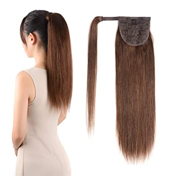 Ponytail Extension Hair Clip in 16 inches 80g Medium Brown  4 Color  Straight Drawstring Wrap 2fdd7ce7d