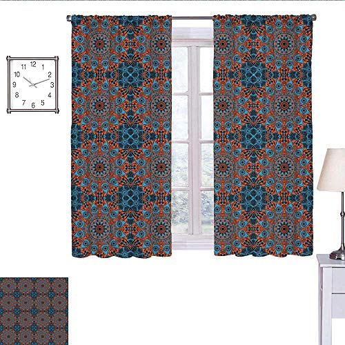 WinfreyDecor Mandala Curtains for Living Room Ornate Lace Chinese Pattern Circles Swirls and Dots Flower Illustration Curtain Valance Blue Vermilion Black W72 x L45 (Dot Valance Circle)