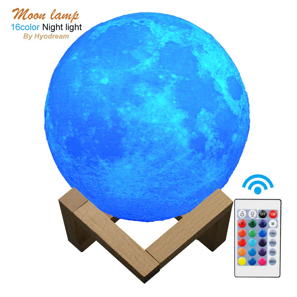 HYODREAM Moon Lamp Moon Light Night Light for Kids Gift for Women USB Charging and Touch and Remote Control Brightness 3D Printed 16colors Lamp (5.9 Inch Moon Light with Wooden Bracket)
