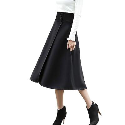 Aeneontrue Automne Hiver Femme A-ligne Laine Jupes de Laine Vintage avec Taille Haute Plissée Casual Chaud épaissir Laine Jupe Longue en Laine avec Boutons