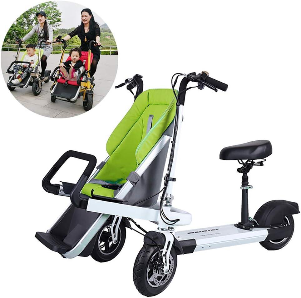 FLy Triciclo Plegable Bebe 2 En 1 Bicicleta Eléctrica para Niños Triciclo Plegable Adulto Eléctrico Desmontable con Batería De Litio De 48V 10AH 500W con Resistente A Los Golpes,Verde