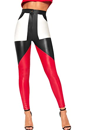 64aebb245719f WearAll Women's Contrast Colour Block Panel Faux Leather Trousers Pants  Skinny Leg at Amazon Women's Clothing store: