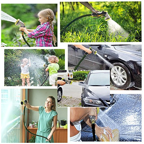 Garden Hose - Water Hose Nozzle - Best 50ft Expandable Garden Hose and Spray Nozzle Set - 8 Spray Patterns - Standard 3/4 Inches Brass Fittings - Ideal for Watering Garden Lawn, Washing Cars and Pets
