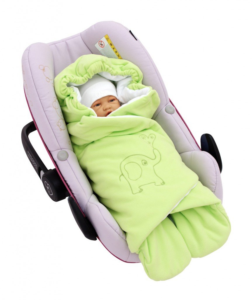 Byboom® Spring, Autumn and Summer Swaddling Blanket for All Baby Seats and Car Seats e.g. for Maxi Cosi, Römer car seats, Prams, Buggies or Baby Beds; Lime ByBUM BUM-27