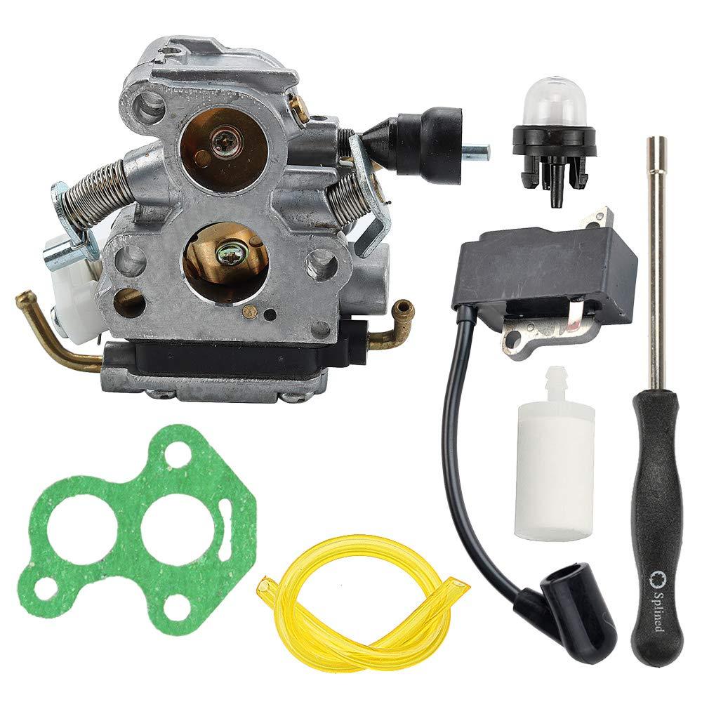 Allong C1T-EL41 Carburetor with Ignition Coil Fuel Line Filter Adjustment Tool for Husqvarna 135 140 140E 435 440 435E 440E Jonsered CS2240 CS2240S CS410 Craftsman Chainsaw 506450501