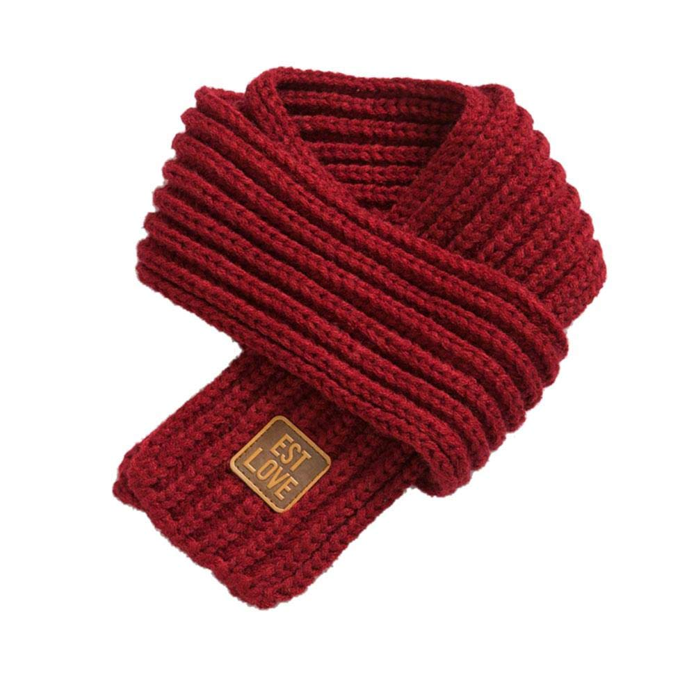 Xianjun Children's Pure Color scarf Toddlers Kids Winter Knitted Warm Scarf Neck Warmer