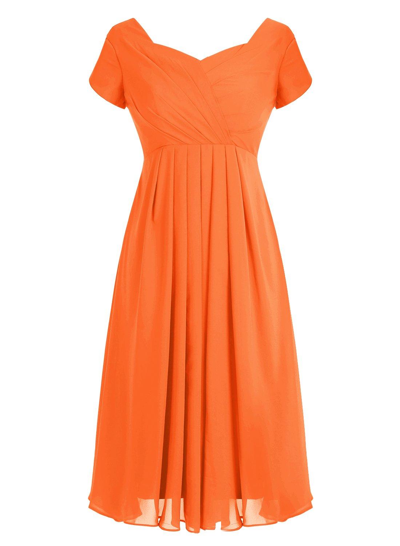 Tideclothes ALAGIRLS Short Chiffon Bridesmaid Dress Cap Sleeves Wedding Party Gowns Orange US26Plus