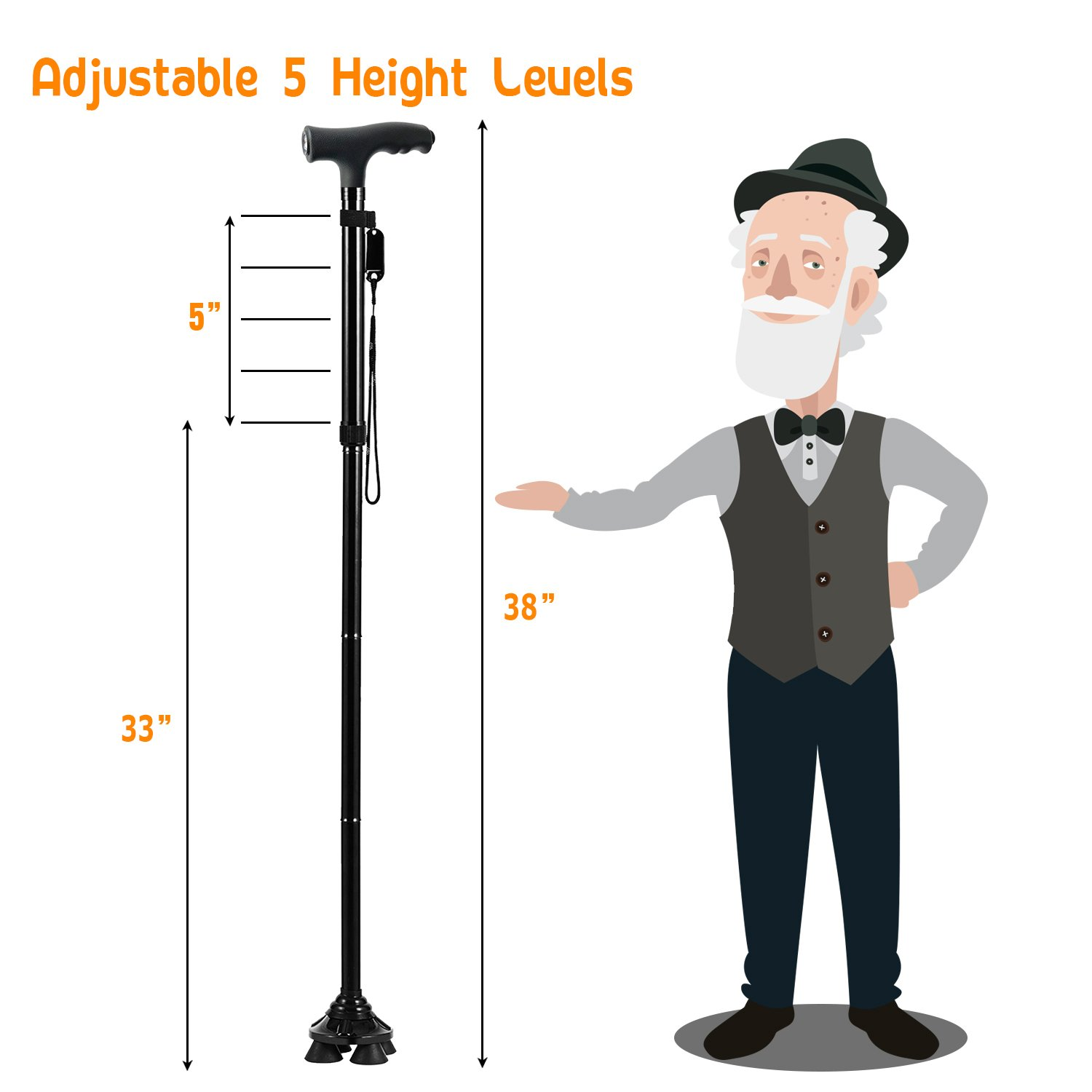 BigAlex Folding Walking Cane with LED Light,Adjustable & Portable Walking Stick, Lightweight,Collapsible with Carrying Bag for Men/Woman(Large) by BigAlex (Image #5)