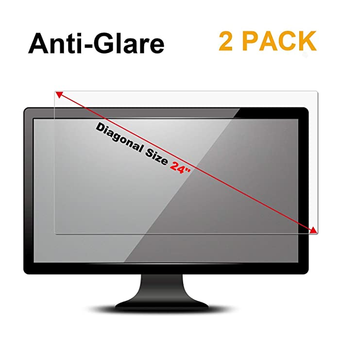 "[2 Pack] 24 inch Anti Glare(Matte) Screen Protector Compatible for All Brands of 24"" Widescreen Desktop with 16:9 Aspect Ratio Monitor(Size: 24"" Diagonal x 20.9"" Width x 11.8"" Height)"