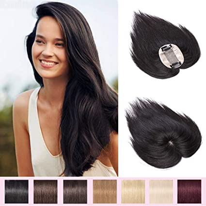 Extensiones de pelo humano para mujeres con adelgazamiento del cabello. 100 % pelo humano Remy. Extensiones de pelo humano con peineta y base de seda de una sola pieza.: Amazon.es: Belleza
