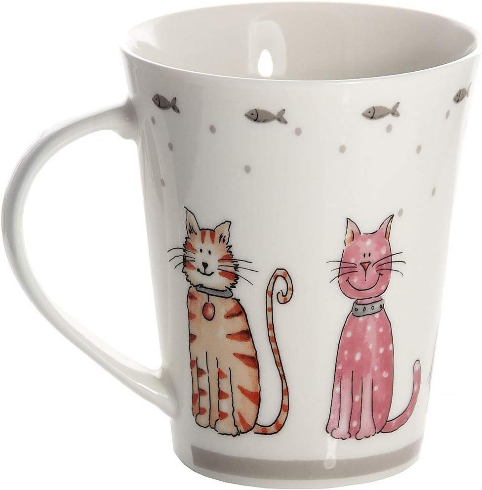 Regalo per Donna e Uomo Amanti dei Gatto Set 2 Tazze da Colazione di Porcellana Colorate per caff/è e Th/è con Disegni di Gatti SPOTTED DOG GIFT COMPANY Tazze Mug