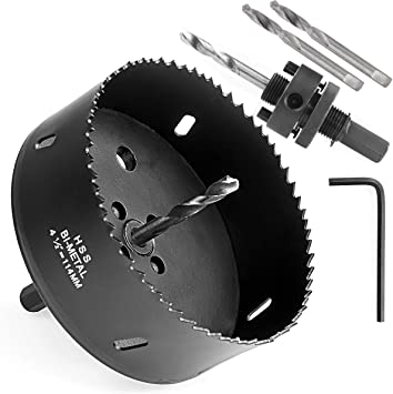 Amazon Com 4 1 2 Inch Hole Saw With Heavy Duty Arbor Hss Bi Metal Holesaw Drill Bits Cut Smooth And Fast In Wood Plastic Drywall Thin Metal 4 5 Hole Cutter For Drilling Holes For Lock Knobs And