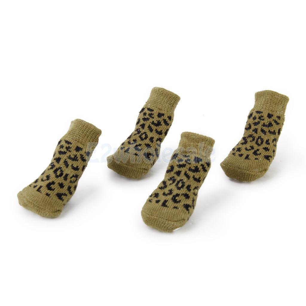 Leopard Print Pet Dog Puppy Cat Non-slip Socks with Cute Paw Prints M