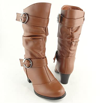 Amazon.com | Kids Youth Girls' Knee High Low Heel Slouchy Boots ...