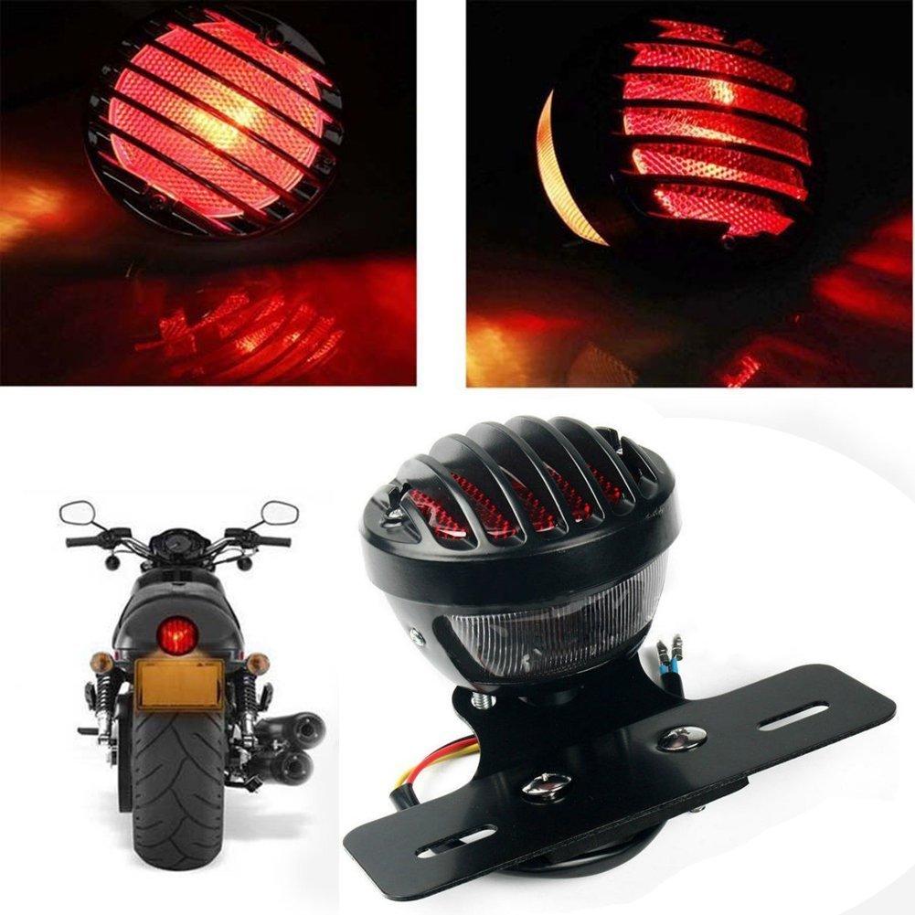 katur 1/motofans schwarz rund Metall Motorrad Schwanz Bremslicht f/ür Harley Chopper Bobber Custom April IA Mana
