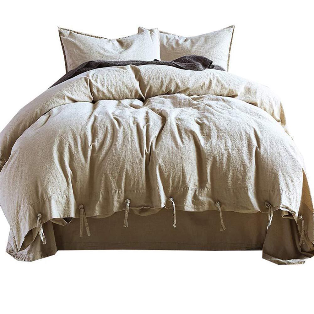 Soft Cotton Solid Grey Duvet Cover Set King Lightweight 3 Piece Bedding Comforter Cover Set with Lace Bohemian Design Luxury Wedding Duvet Quilt Cover Set King Bed Cotton Bedding Collection LIFETB TBUS052602K1