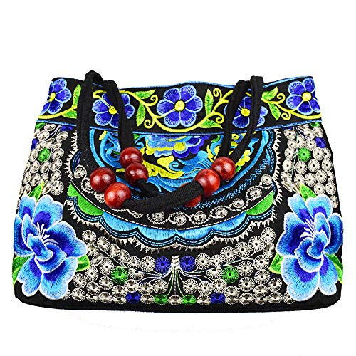 Women's Unique Vintage Hobo Tote Bags Embroidered Floral Shoulder Handbags for lady (APPLE-BLUE), Medium - Floral Embroidered Tote