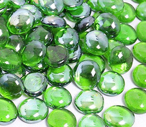 KIBOW 10-Pound Pack Fire Glass Beads Fire Glass Drops for Gas Fire Pit, 3/4 - Evergreen Fire Glass