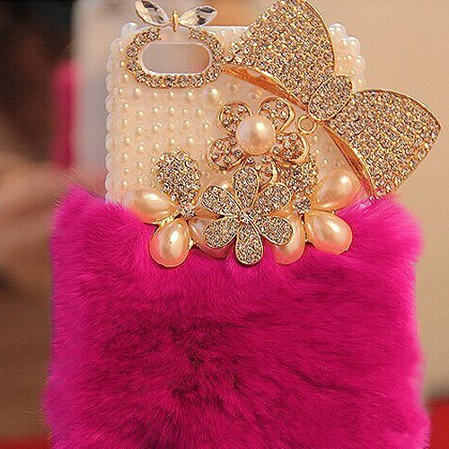Aikeduo for iPhone 6 Plus 6s Plus 5.5 Inch case Bling Crystalffy Cover Rabbit Fur Case Winter Wammer Handmade Soft Crystal Case Bling Crystal Fur Shell Creative Gift (Deep Pink)