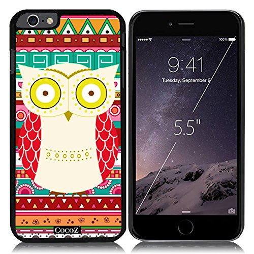 New Apple iPhone 6 s Plus 5.5-inch CocoZ® Case Cute funny owl PC Material Case (Black&Black PC owl (Ace White Painters)