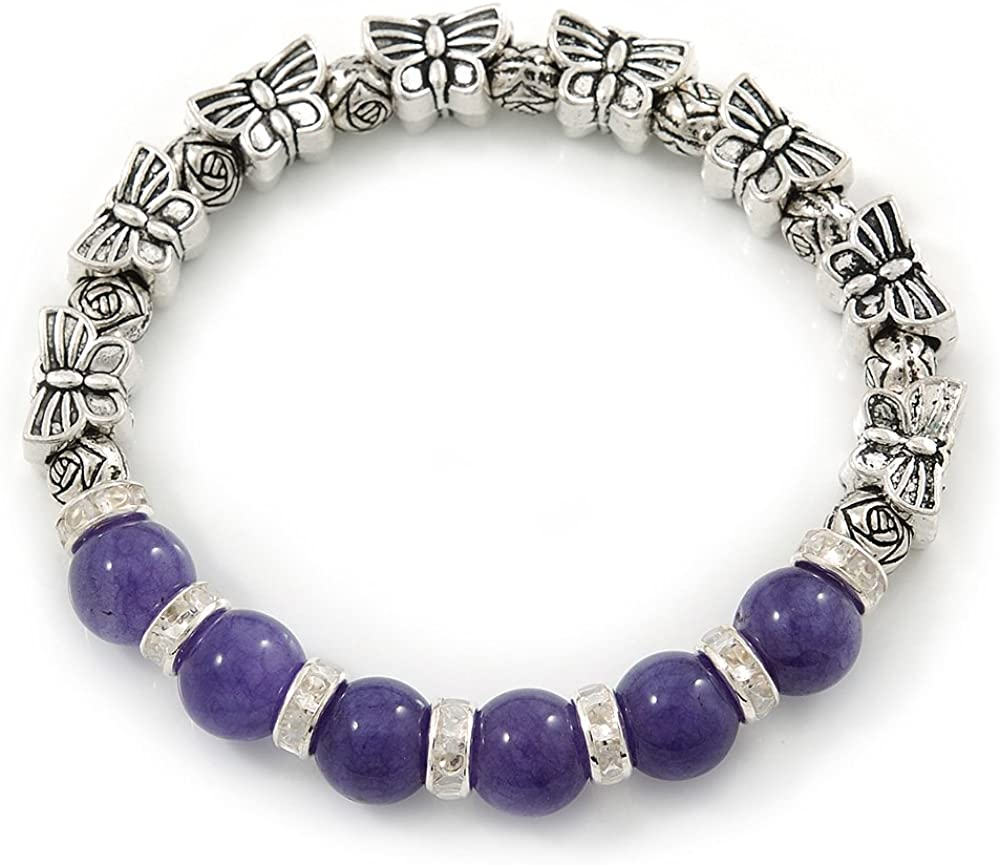 Antiguo tono de plata del grano de la mariposa y 10 mm de teñido Ágata púrpura piedra pulsera del estiramiento - 19 cm L