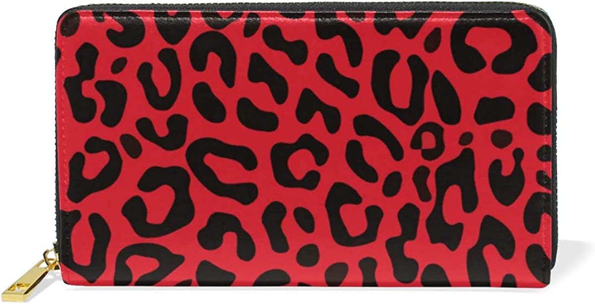 One Bear Leather Zipper Wallet RFID Blocking ID Credit Card Cash Holder Travel Purse Wristlet Bags Womens Leopard Yellow
