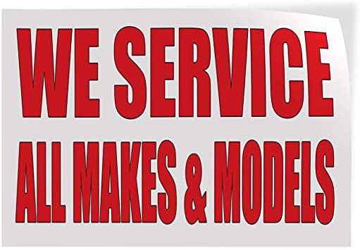 Set of 10 20inx14in Decal Sticker Multiple Sizes We Service All Makes /& Models Auto Body Shop Automotive All Models Service Outdoor Store Sign Red