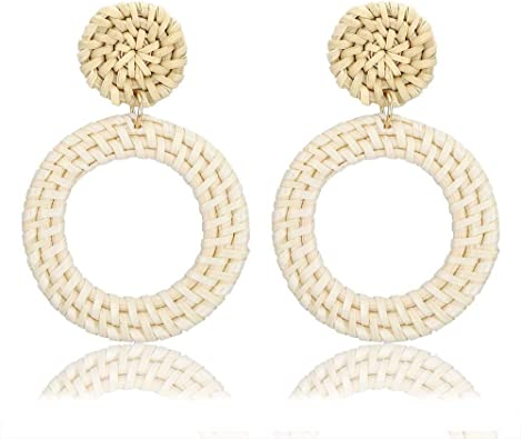 Handmade Rattan Dangle Boho Earrings Natural Super Lightweight Geometric Hoop Drop Disc Statement Earrings Stainless Steel Long Earrings for Women Girls