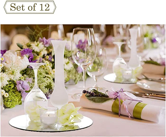 12-inch Wedding Centerpieces for Tables Mirror Trays, Mirror Wall Decoration, Round Mirror Charger Plate and Candle Tray, 12 Packs, 2mm Thickness, Rounded Edge
