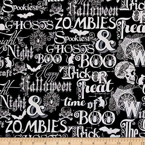 Henry Glass Fright Night Metallic Halloween Words Fabric