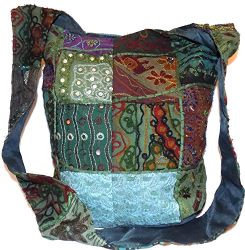 Bag Hippie Gypsy Beads amp; Green Mirror Body Boho Hippy Multi Sequin Embroidered Festival Large Beach Colour Patch HandBag Dark Shoulder Travel Cross Cotton Patchwork Sling Z5pwdqZ